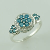 Natural Neon Apatite 0.58 Ct. 925 Sterling Silver Ring Anniversary Women Jewelry