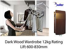 Pull Down Wardrobe Rail 600-830mm Clothes Lift  Hanger Dark Wood. Rating 12kg