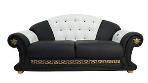 Versace 3 Seater Genuine Italian Black White Leather Sofa Settee