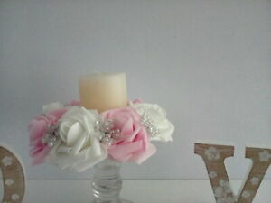 Ivory &blush pink foam rose and AB beads candle ring wedding table decoration