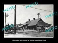 OLD LARGE HISTORIC PHOTO OF PORTSMOUTH OHIO, THE RAILROAD DEPOT STATION c1900