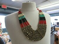 Beautiful Vintage Bib Shell and Metal Necklace White, Blue, Black Red Gold Tone