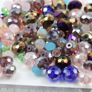 100g CRYSTAL BEADS RONDELLE  - CLEARANCE - MIXED BAG  BARGAIN BAG - JEWELLERY UK