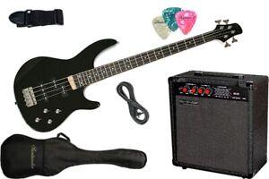 Santander E-Bass Set schwarz mit 60W Verstärker + Tasche, Kabel, Gurt, Pleks