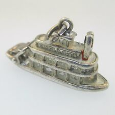 Ferry Paddle Boat Charm Sterling Silver Vintage Movable Enamel