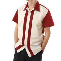 Mens Stripe Vintage Cotton Shirts Short Sleeve Casual Rockabilly Bowling Shirts