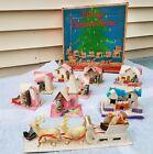 WITH BOX Vintage Putz Christmas Village w/ SANTA & SLEIGH Reindeer Church Rare
