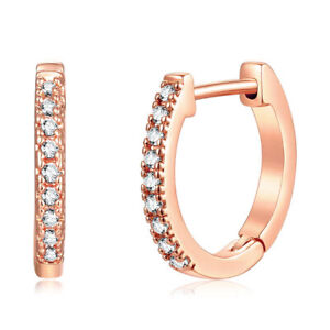 18K Gold Plated CZ Cubic Huggie Hoop Small Earrings For Men & Women