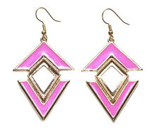 Vibrant & Gorgeous Pink & Gold Dual Triangle Pyramid/Golden Hook Earrings(Zx262)