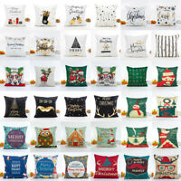 Christmas Pillow Case Glitter Cotton Sofa Throw Cushion Cover Home Decoration