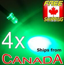 4x GREEN 3mm Single LED, pre-wired for 12v, Car/Truck/Bike