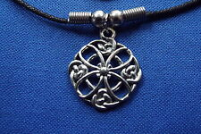 "Celtic Knot Flower Cosmic Pewter Pendant - 16"" Boot Lace Clasped Cord Necklace"