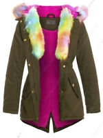 NEW PINK FUR PARKA COAT GIRLS FLEECE JACKET HOODED Padded AGE 7 8 9 10 11 12 13