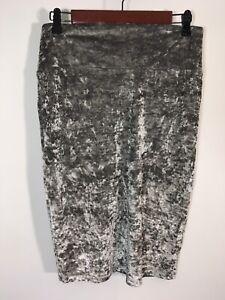 LuLa Roe Skirt Women Size Medium Gray Velveteen Pencil