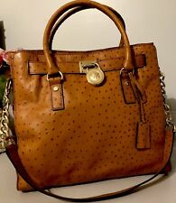 Michael Kors Hamilton Tan Ostrich Leather Shoulder/ Crossbody Bag - Xlarge