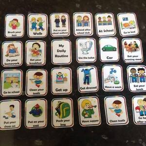 daily routine flashcards Autism ASD SEN educational visual home schooling aid