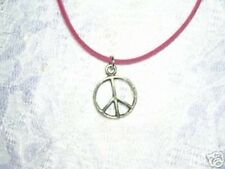 """FUN HIPPIE STYLE ROUND PEACE SIGN SYMBOL CAST PEWTER PENDANT 18"""" PINK NECKLACE"""
