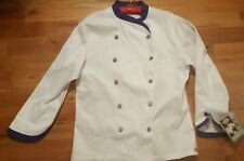 Dickies Executive Chef Coat 42 White Cobalt Blue Twill Stretch Nwt Cw070303