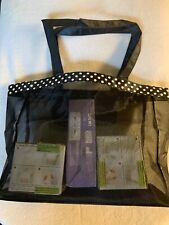 Oriental Trading Company Black Mesh Tote Beach Bag With White Polka Dot Border