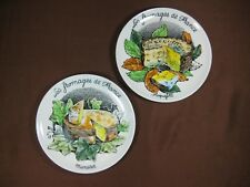 """Gien Les Fromages de France 7 1/2"""" Salad Plate Pair Roquefort and Munster Cheese"""