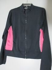 Pro spirit Athletic Gear Gray Pink White Sides Long Sleeve zipper Jacket size L