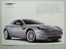 Prospekt Aston Martin V12 Vanquish, ca. 2001, 2 Seiten, englische Sprache