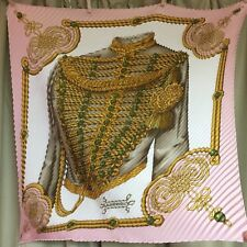Auth Beautiful BRANDEBOURGS HERMES Pleated Scarf 100% Silk Pink 90 x 90 cm