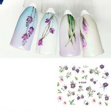 Nail Art Water Decals Stickers Transfers Spring Purple Water Effect Flowers E549
