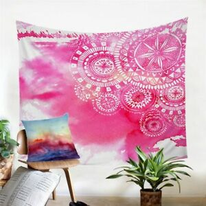 Tie Dye Mandala Pink Boho Wall Tapestry Hanging Throw Cover Home Room Decoration