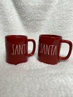 NEW (2) Rae Dunn Christmas SANTA Mug Set Red *EXPERT SHIPPER*