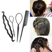 4 Pcs Set Styling Clip Bun Maker Hair Twist Braid Ponytail Hairdressing Tool