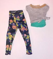 Barbie Made to Move Yoga Doll Outfit Green Gray Shirt Floral Pants NEW Clothes