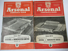 VINTAGE FOOTBALL PROGRAMME X 2 ARSENAL V MANCHESTER UNITED 1956/57 & 1957/58