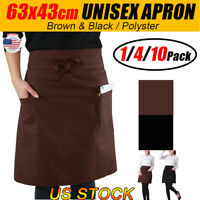 Black/Brown Plain Apron Poly Pocket Chefs Kitchen Cooking Craft Catering Baking