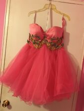 Sherri Hill Pink Embroidered Tulle Prom Sweet 16 Dress 16