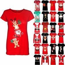 Women Christmas Gingerbread Climb Candy Stick Ladies Stretchy Cap Sleeve T Shirt