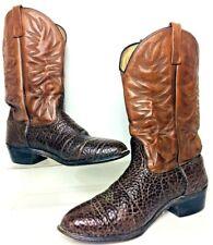 Vintage Textured Brown Leather Western Cowboy Boots Men's 12