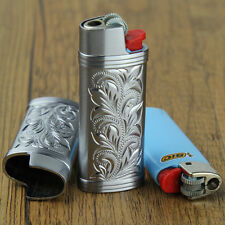 Floral pattern silver mini size J5 model BIC lighters case without lighters,DF2