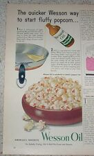 1954 vintage ad - Wesson Oil shortening - skillet Popcorn recipe PRINT ADVERT