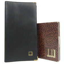 Auth dunhill Logos Leather Long Billfold Card Wallet Purse w/Box F/S 2489