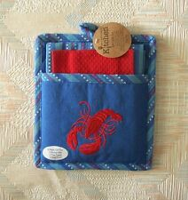 Lobster Pocket Mitt Three Piece Set Pot Holder Set Red Lobster Embroidery