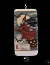 Flying Witch With Cat Halloween Postcard Pendant