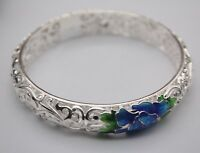 NEW Gift Pure S925 Sterling Silver Bracelet Woman's Unique Enamel Flower Bangle