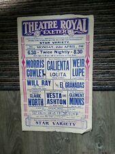 More details for variety theatre poster 1940,exeter theatre royal,ventriloquist clement minns,mor