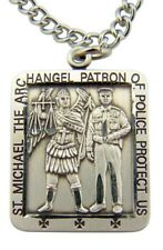 "Saint St Michael Patron of Police Officers 1 1/16"" Sterling Silver Medal Pendant"