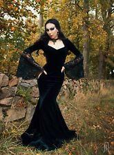 Long Velvet Dark Gueen Morticia Addams Gothic Victorian Evening Dress Costum
