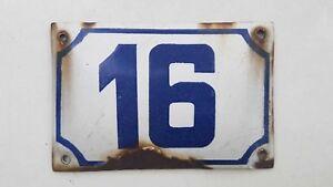 vintage PRE ISRAEL STATE PALESTINE enamel porcelain number 16 house sign # 16