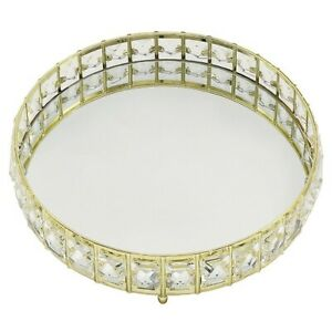 Round Gold Crystal Jewel Mirrored Decorative Candle Plate  Tray  20 x 20cms