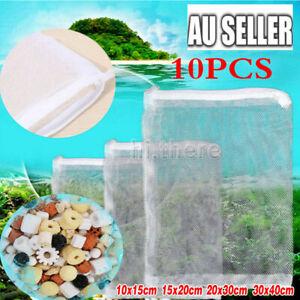 10Pcs Nylon Mesh Zip Net Bag Aquarium Fish Tank Pond Filter Supplies Media Tool
