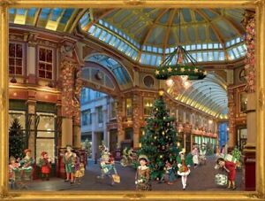 Advent Calendar Father Christmas shop mall glittered Victorian Style